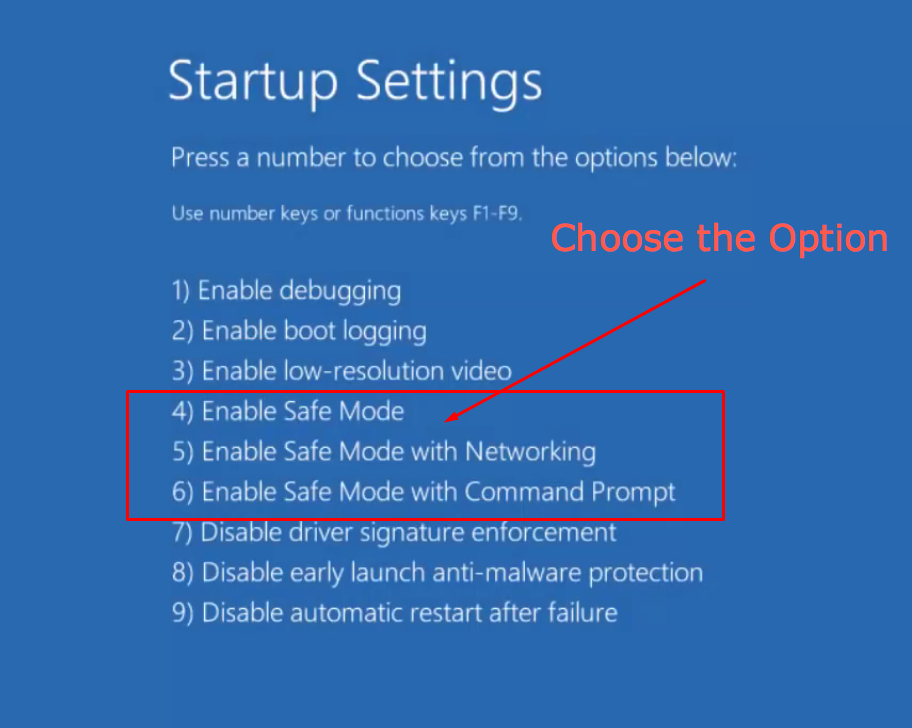 Choosing Options in Startup Settings