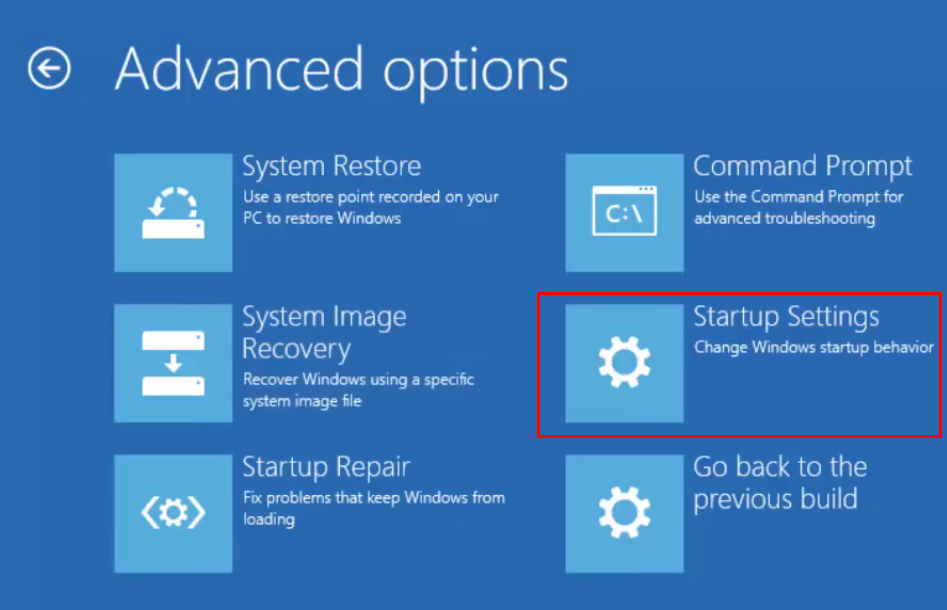 Choosing Startup Settings in Advanced Options