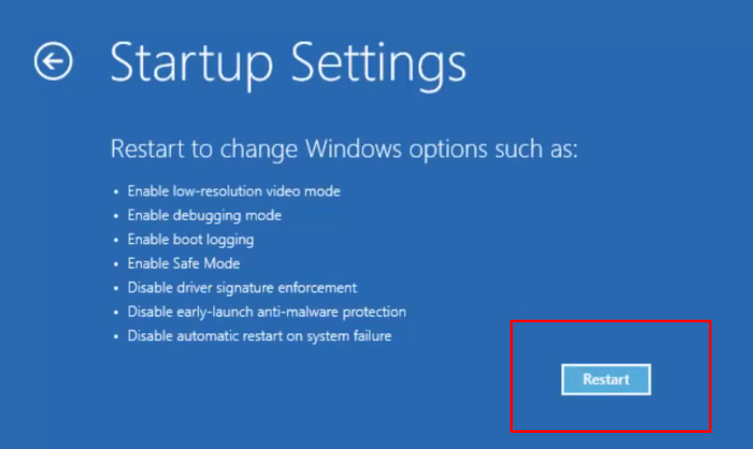 Clicking on Restart in Startup Settings