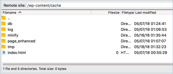 Content of W3TC Cache Directory