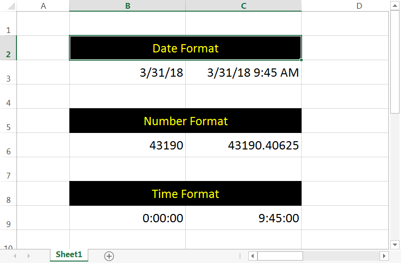 Date, Number and Time Format in Excel
