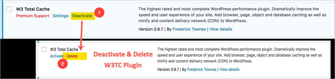 Deactivate and Delete W3TC Plugin