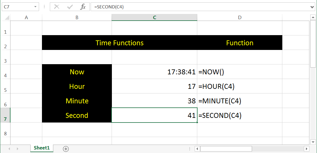Excel Time Functions