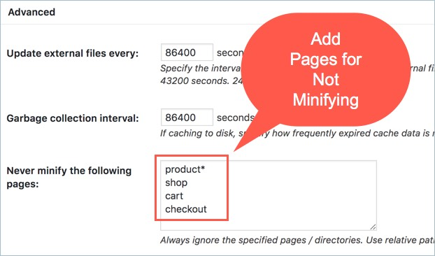 Exclude Pages from W3TC Minify