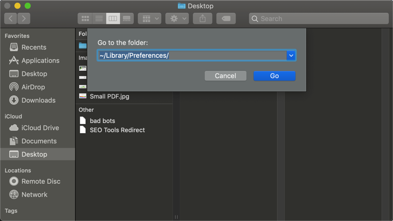 Go to Preferences in Finder