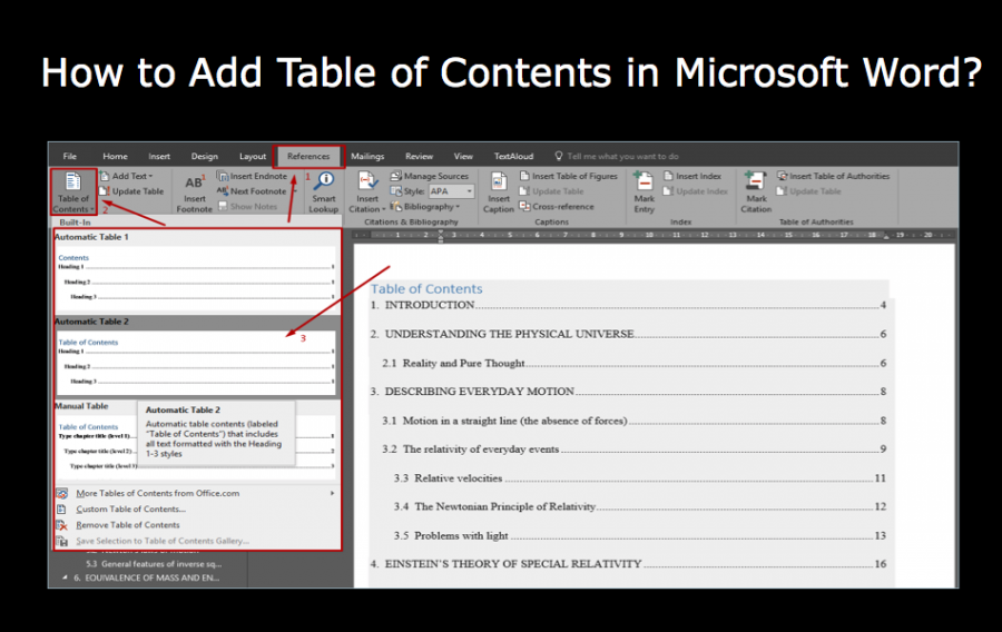 How to Add Table of Contents in Microsoft Word?