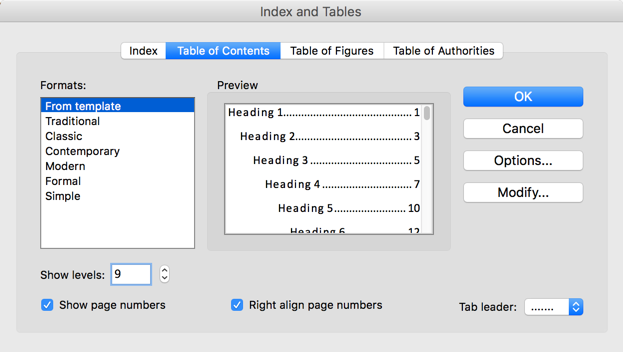 Insert Table of Content in Mac Word