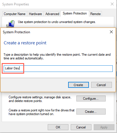 Enter Name for Restore Point