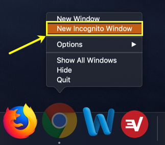 Open Chrome Incognito Tab from Mac Dock