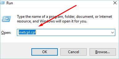 Open Internet Properties in Windows