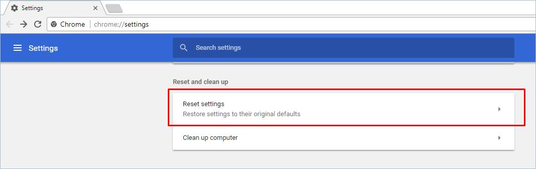 Reset Chrome Option