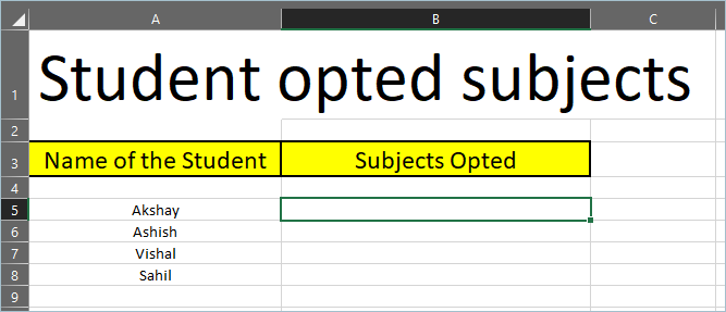 Sample Table for Adding Checkboxes