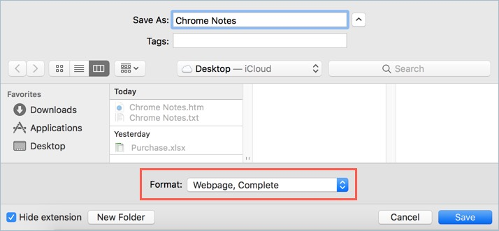 Save Notes from Browser