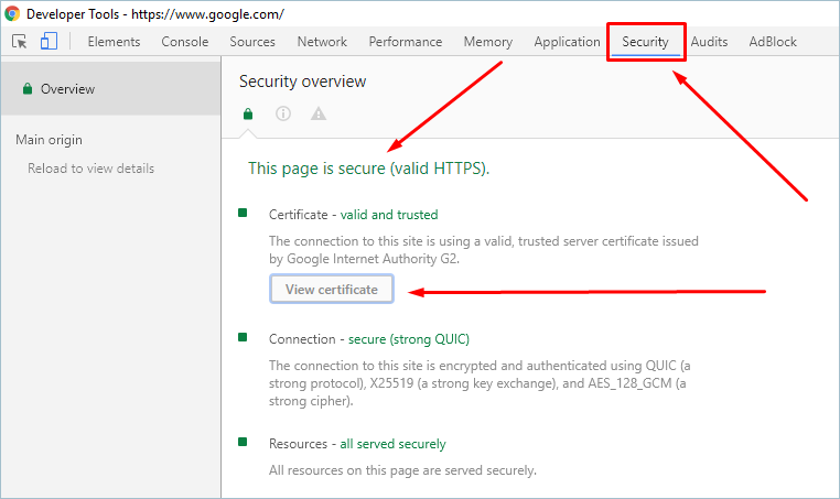 Security Panel in Chrome Developer Tools