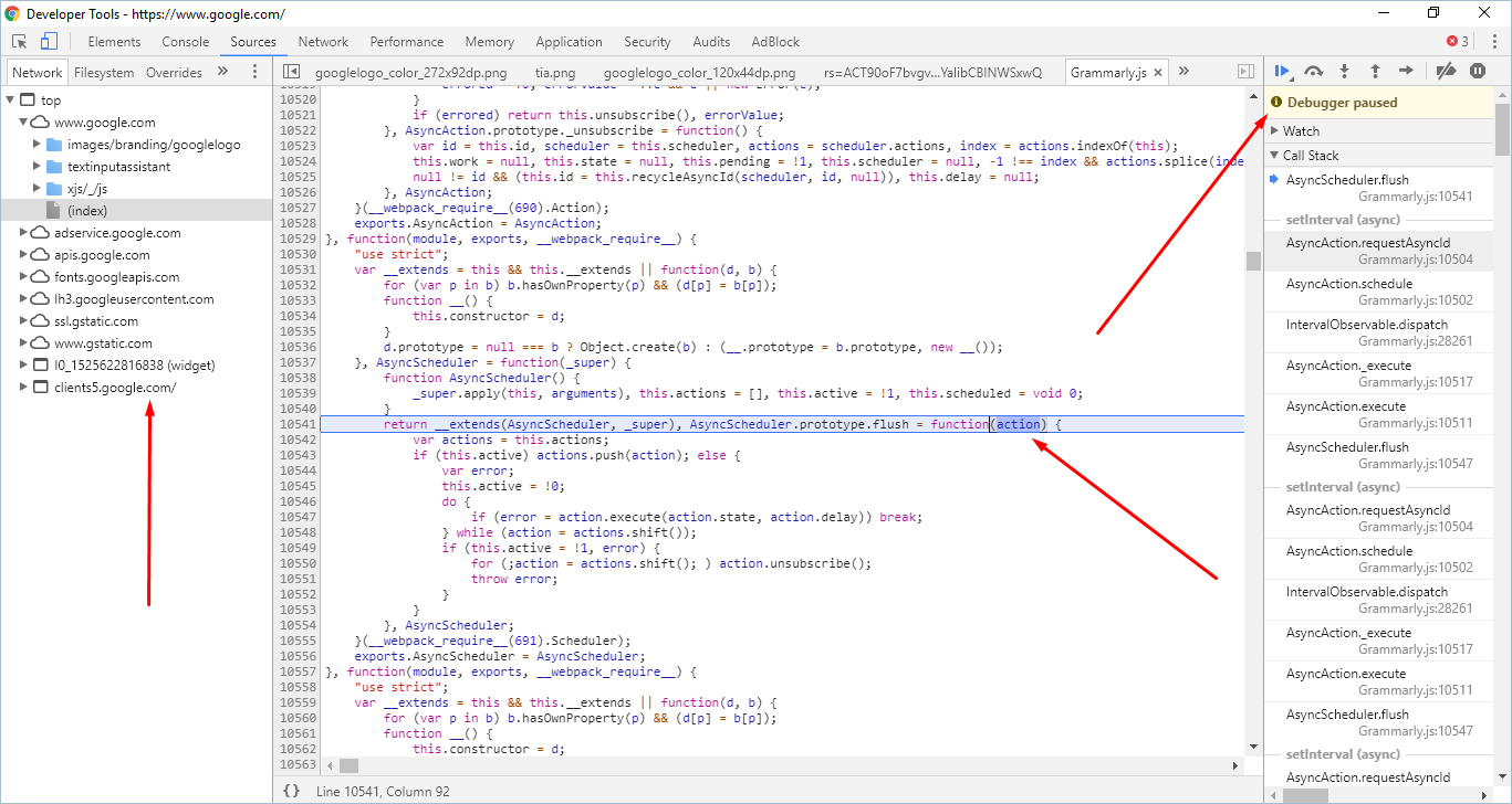 Source Panel in Chrome Developer Tools