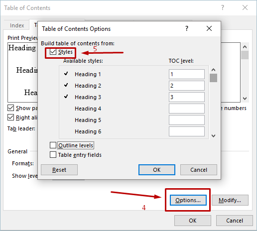 Table of Contents Options with Custom Styles