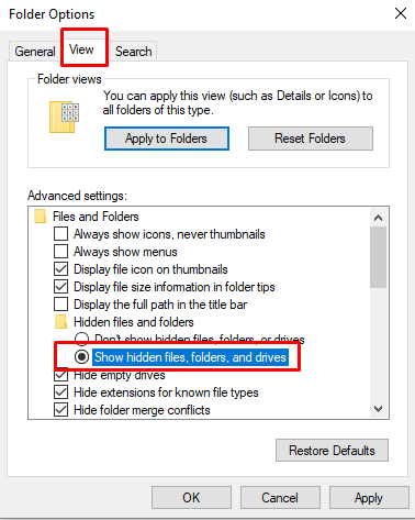 Turn On Show Hidden Files Options