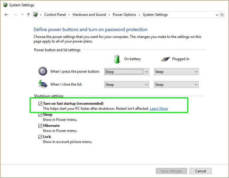 Turn on Fast Startup in Windows