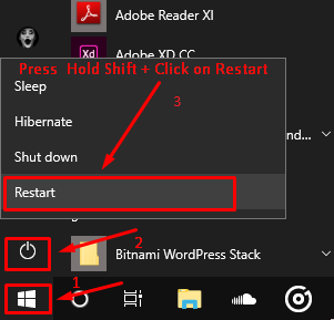 Turning Safe Mode with Shift + Restart Key