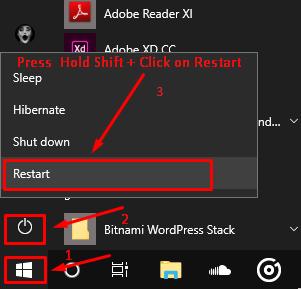Включение безопасного режима с помощью Shift + клавиша перезапуска