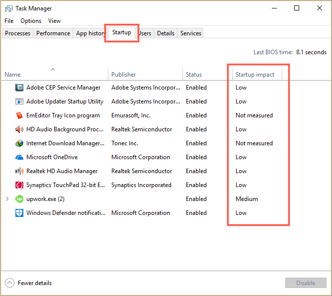 View Startup Apps in Task-Manager