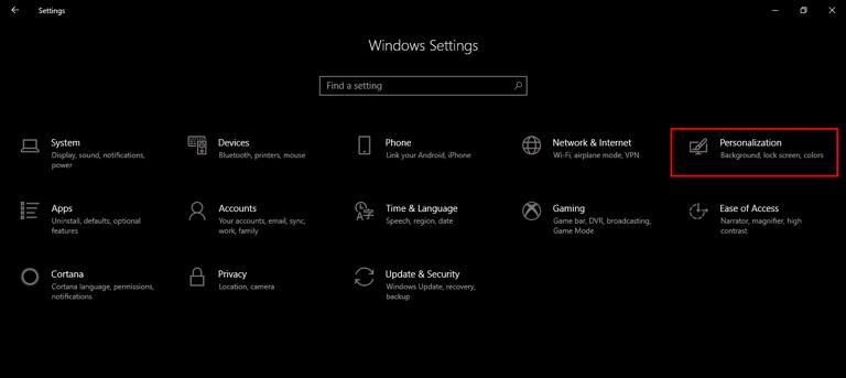Windows Personalization Settings