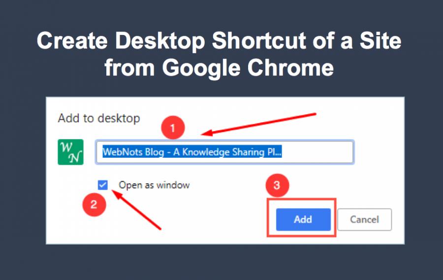 Create Desktop Shortcut of a Site from Google Chrome