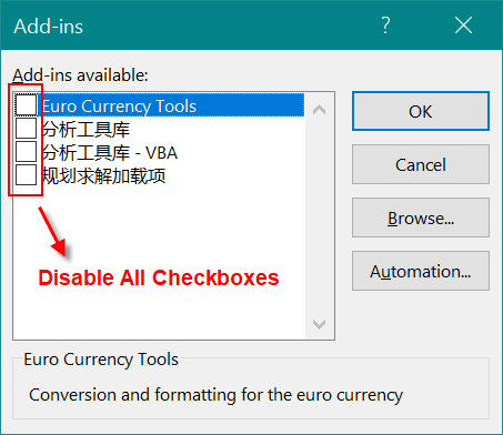 Disable Add-ins in Excel
