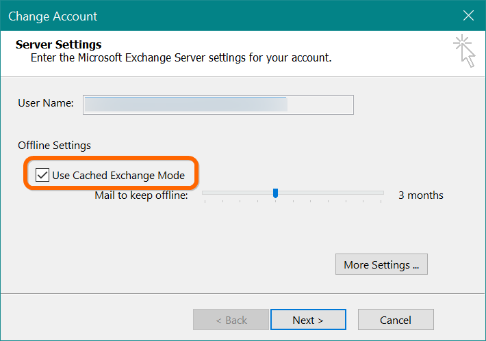 Enable Cached Exchange Mode Option