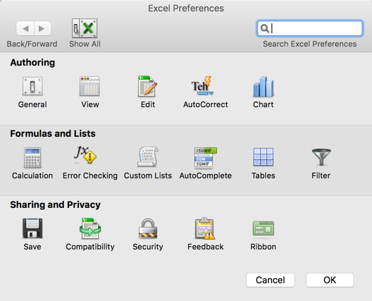 Excel Preferences in MacBook