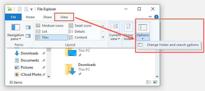File Explorer Search Options