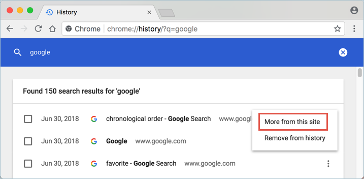 Filtering Chrome History
