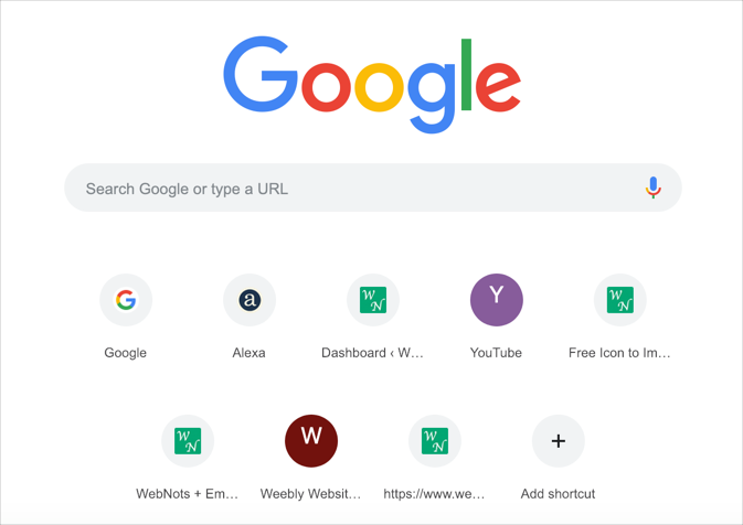 Google Chrome Shortcuts on New Tab Page