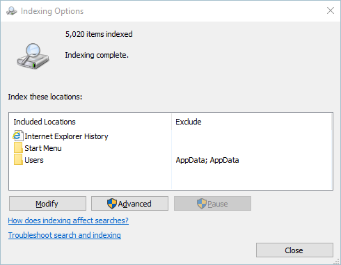 Indexing Options Panel in Windows 10