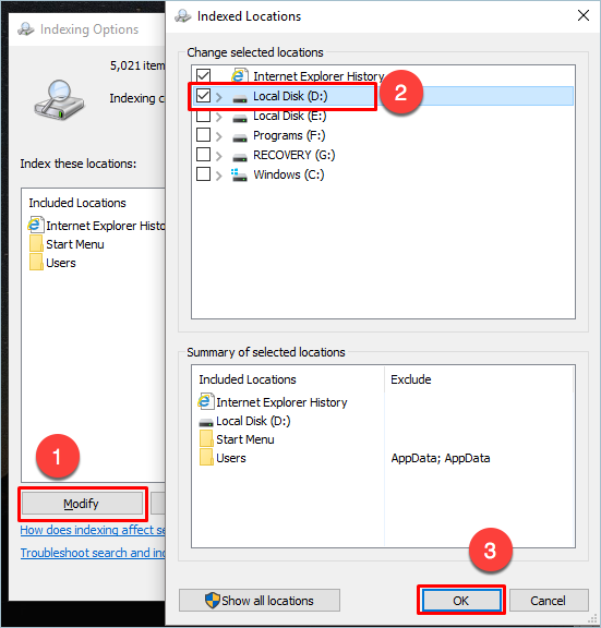 Modifying Index Locations For Whole Drive