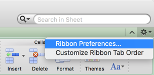 Open Ribbon Preferences in Mac Excel