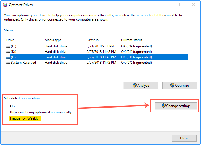 Optimize Drives in Windows 10