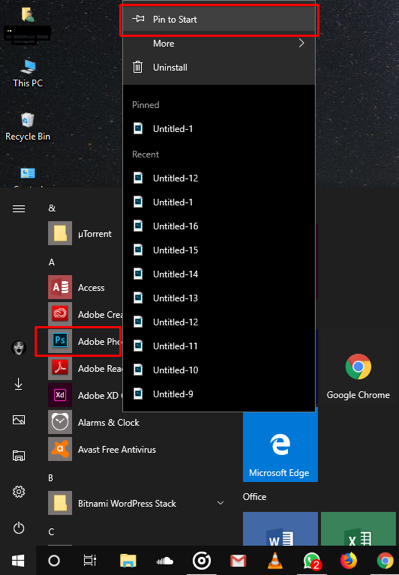 Pin Apps to Start Menu