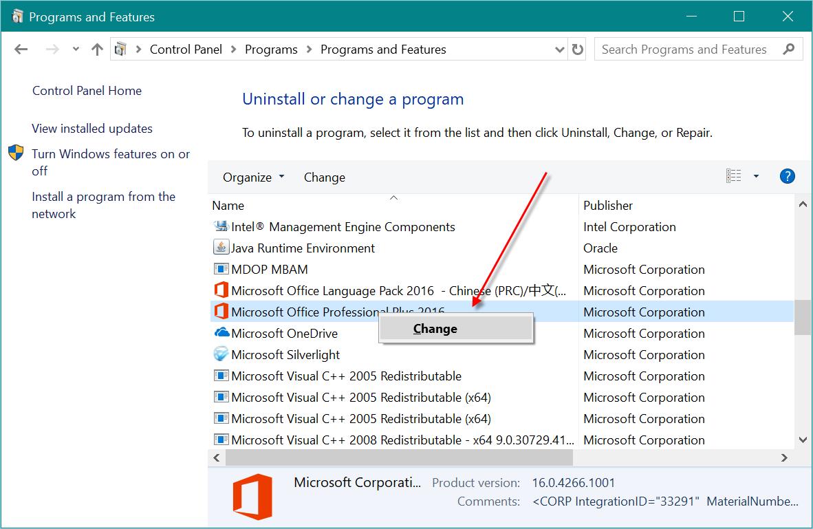 Repairing Microsoft Office Installation