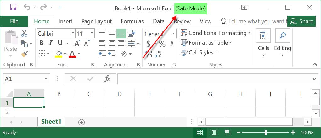 Safe Mode Excel