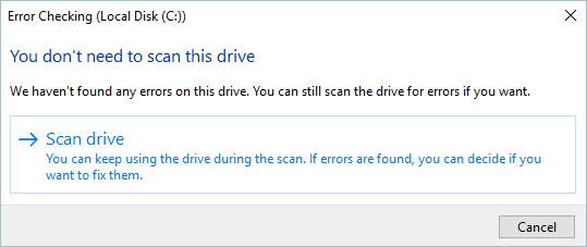 Scan Drive For Error Checking