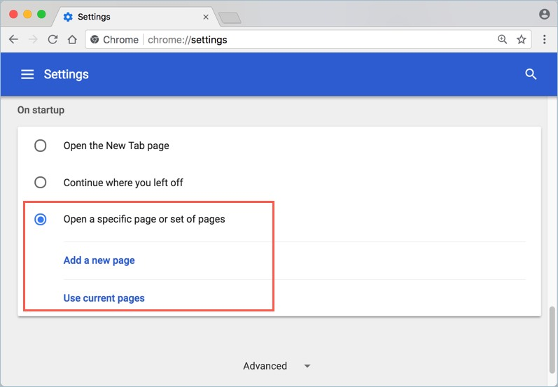 Setting Startup Page in Chrome