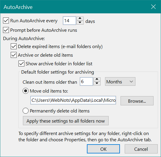 Setup AutoArchive in Outlook