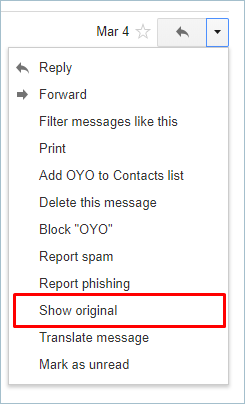 Show Original Option in Gmail