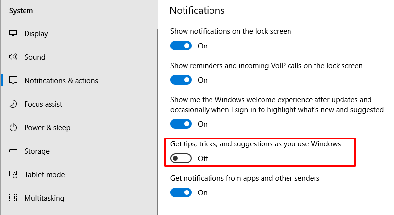 Turn Off Suggestions From Windows