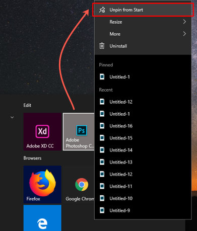 Unpin Apps from Start Menu
