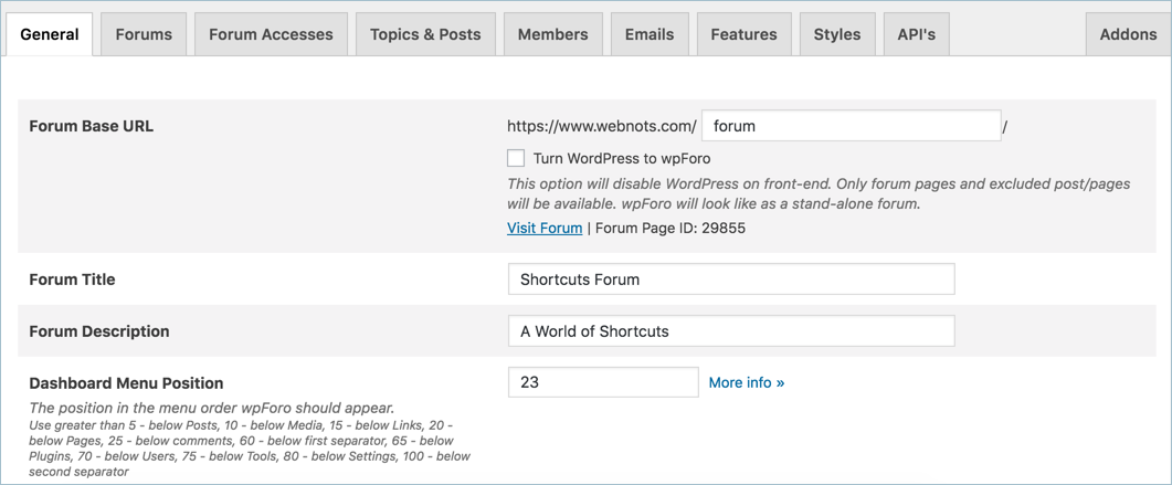 wpForo Forum Page Settings