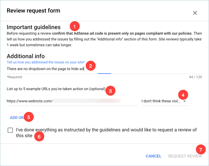 AdSense Request Review Form