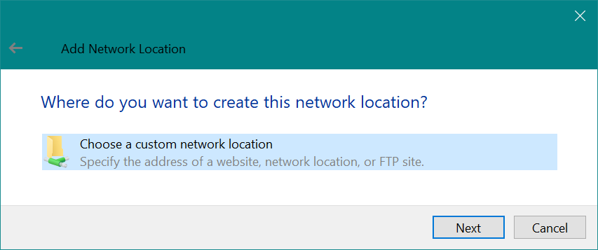 Add Network Location