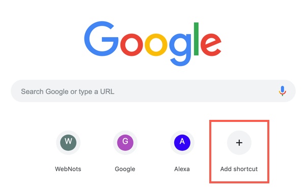 Add Shortcut in Chrome New Tab Page